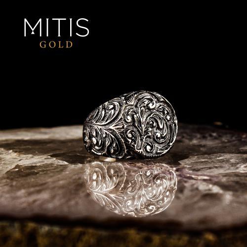 Kalem İşlemeli Rodaj Kaplamalı Gümüş Yüzük