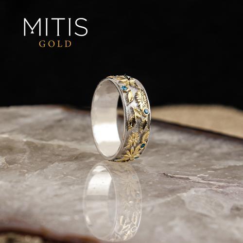 Bitkisel Motifli Gümüş Alyans